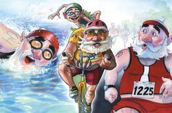 Santa Clause painting of him doing swim/ bike/ run