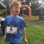 The First athlete across the line at the HPR Youth Triathlon West Shore 2016