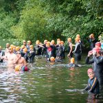 Athletes entering the water for the swim portion of the 2015 XTERRA Victoria