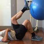 Mike doing knee mobility exercises at Arbutus Physiotherapy and Health Centre