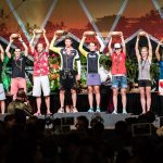 Fawn Whiting on stage at Ironman World Championship in Kona Hawaii collecting her bowl