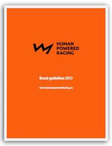 Cover page of the 2013 brand guidelines for Human Powered Racing