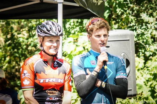 Melanie Mcquaid and Brent McMahon giving speeches after winning XTERRA Victoria 2013