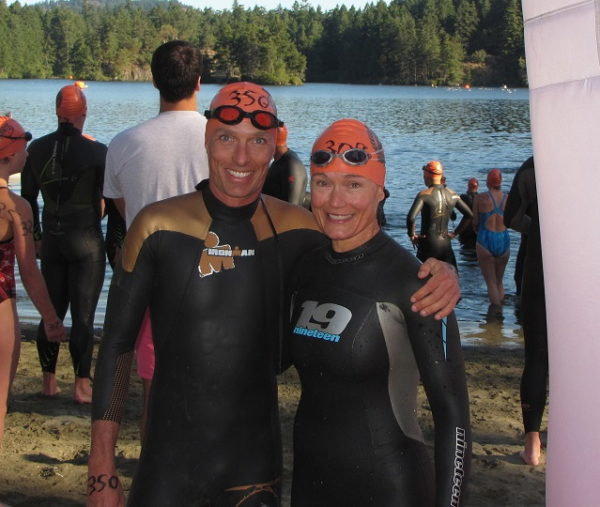Mike and Eileen at the start of the HTO 3km swim at Thetis lake