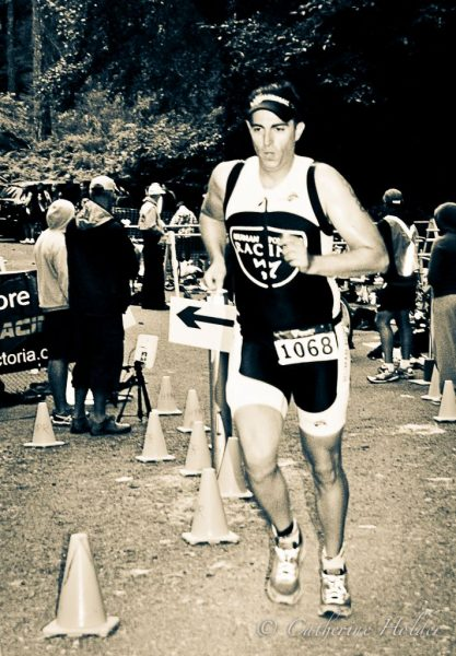 Chad running out of transition at Metchosin Triathlon