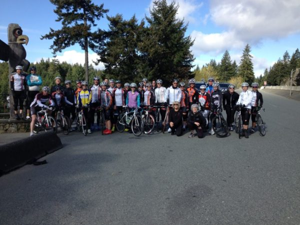 Parksville Riders at the top of the Malahat in 2014
