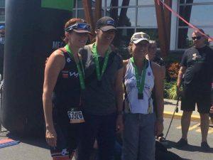 Colette Hopkins on podium in 3rd place at 2017 MEC Sprint Triathlon