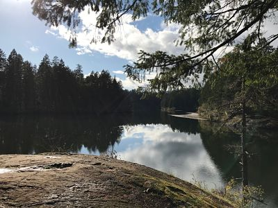 Thetis Lake on a windless sunny day.