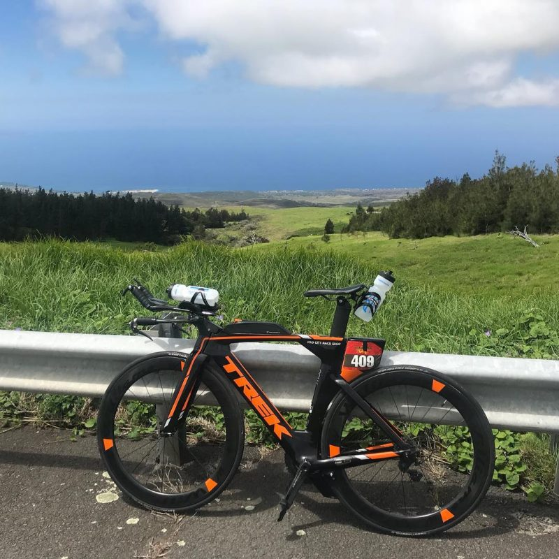 Jays Trek Speed Concept with the views of the Big Island in the back ground.