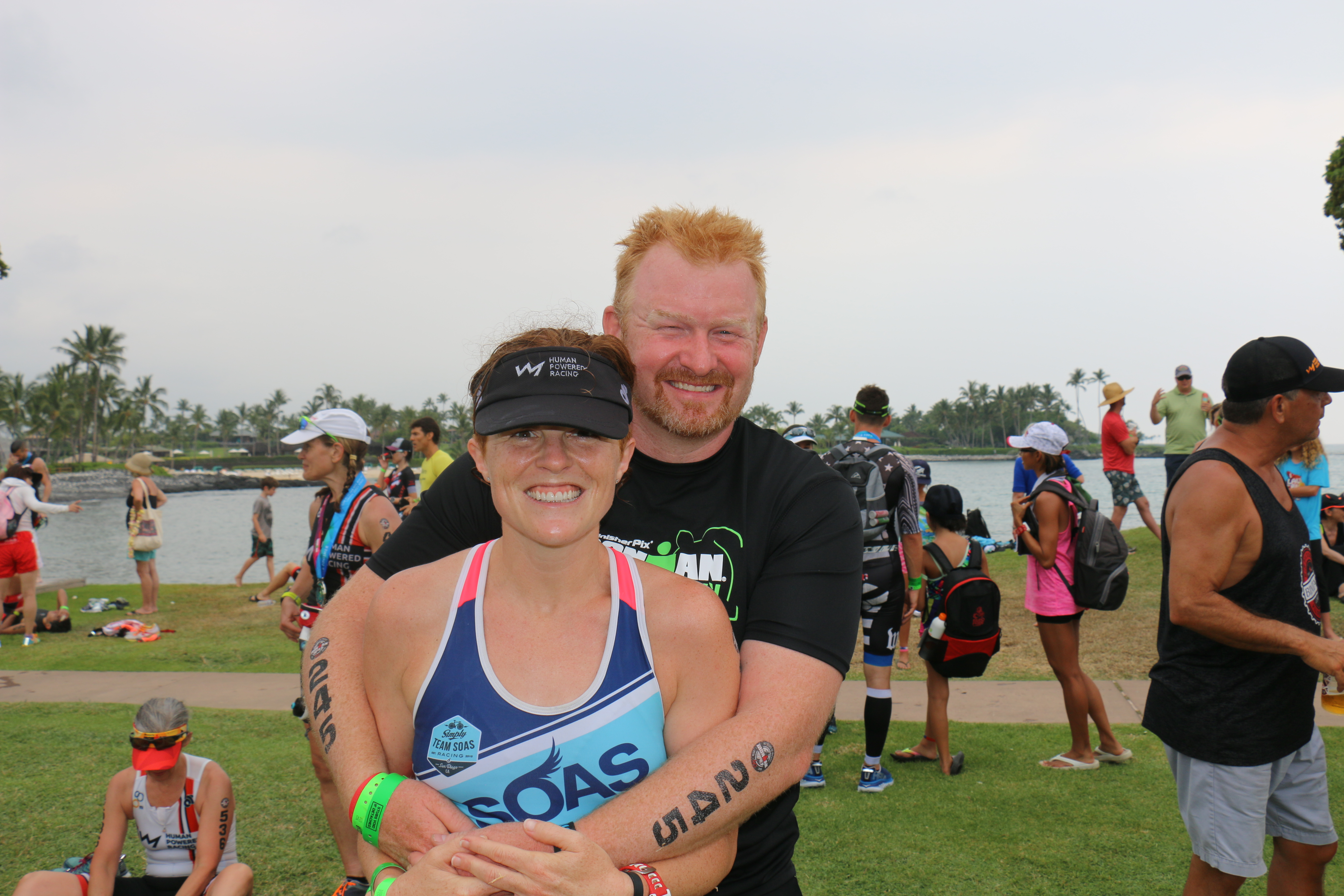 Colette Hopkins and Mark Hopkins at the finish of the Hawaii 70.3 in Waikoloa, Hawaii