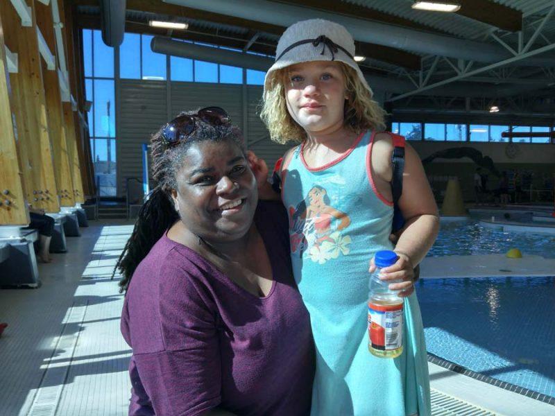Melanie and Maya Wilson at the Triathlon of Compassion, Esquimalt Recreation Centre, 2018