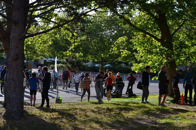 Morning of the Victoria Youth Triathlon, at UVic, at the transition area.