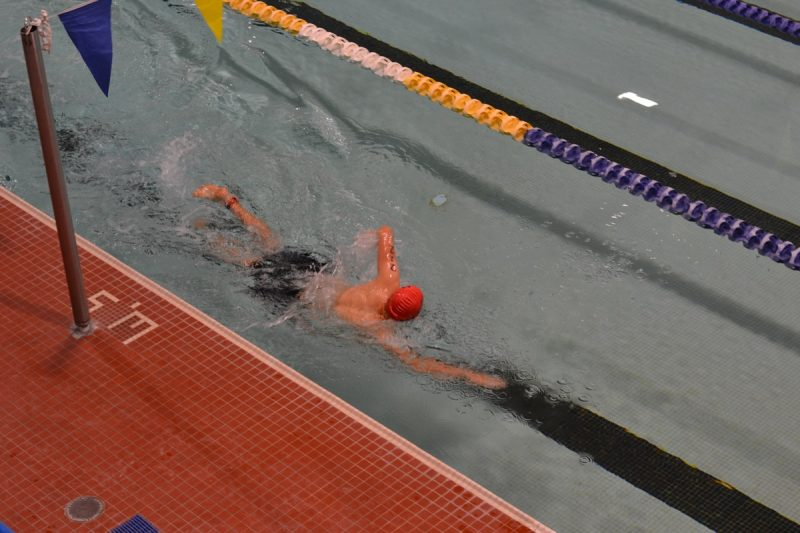 Swimmers in the zone at the Victoria Youth Triathlon at the University of Victoria.