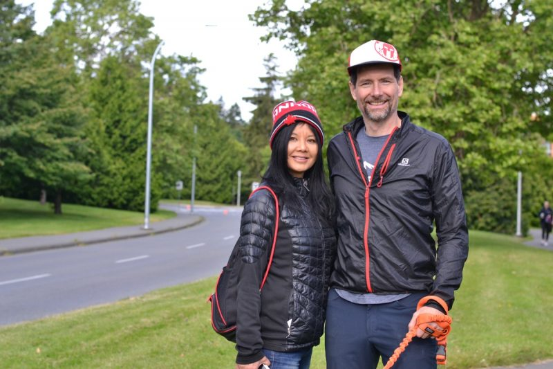 Ann-marie and Stephen O'Keefe cheering on their son Connor O'Keefe, 13, on ring road.
