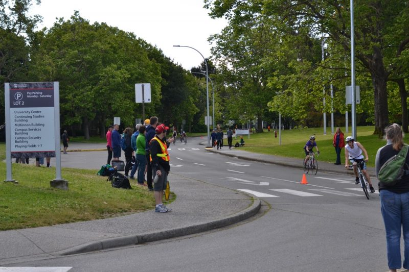 Cyclists in the zone at the Victoria Youth Triathlon, at the University of Victoria.