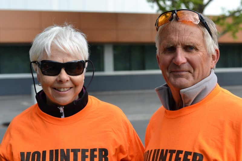 Clair and Tom Krieger, volunteers, and Grayson Krieger fans.
