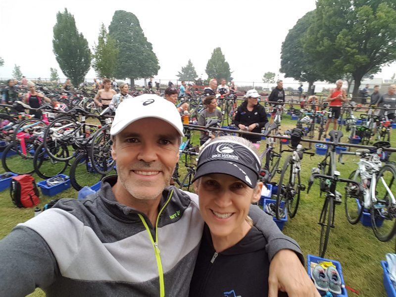 Dominic and Crystal Bergeron in front of Transition Area of Super League 2018 in Penticton