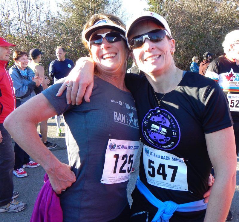 Jenn Campbell and Diana Thaxter post race photo at Island Running Series