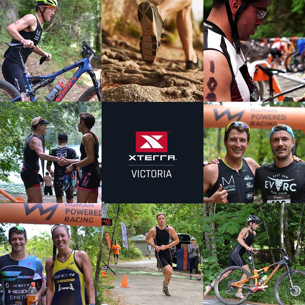 A 3 by 3 collage of photos from XTERRA. They are of people running, biking, and smiling in the woods. The red and white XTERRA logo is in the centre.