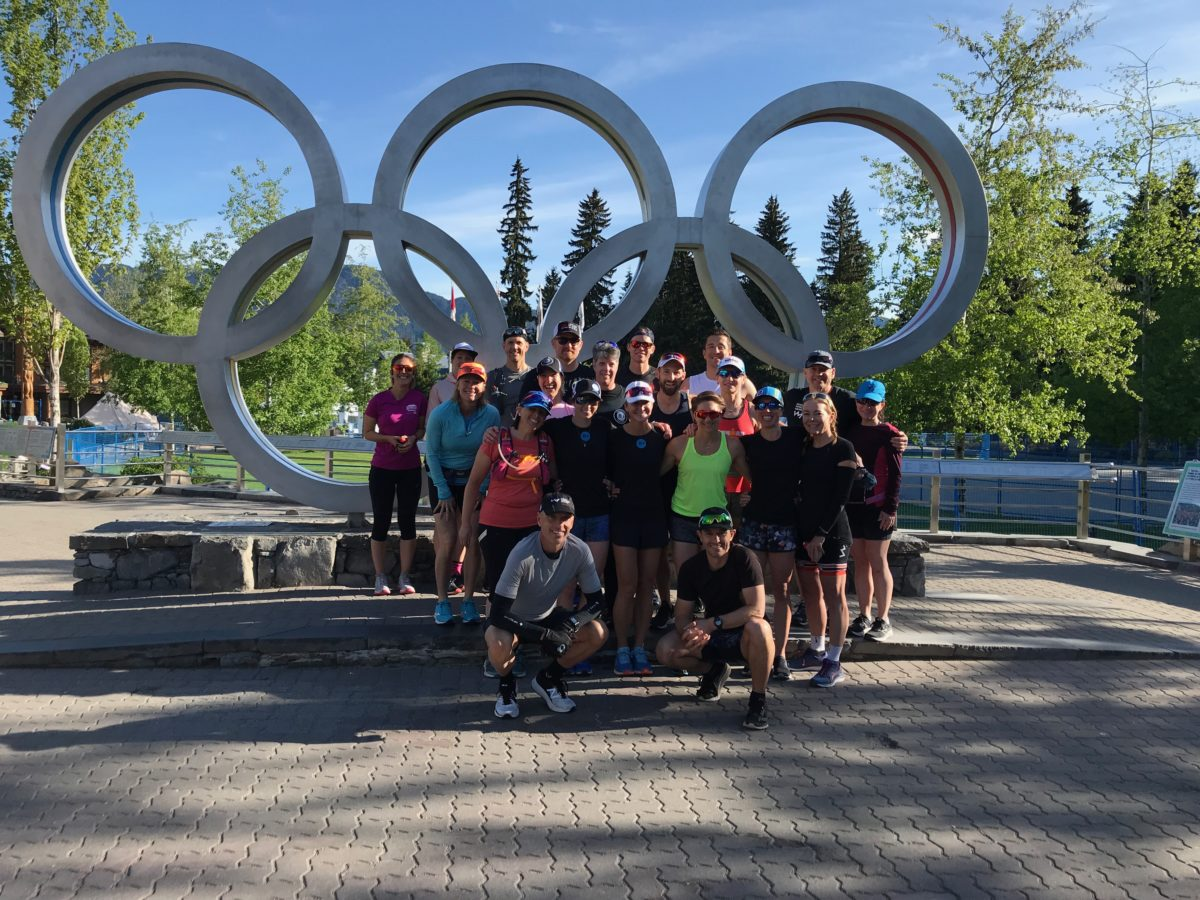 Photo of athletes in front of the Olympic Rings at Whistler Ironman Camp