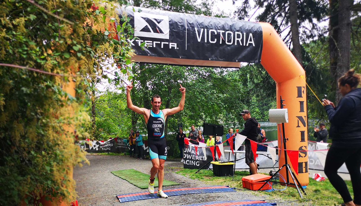 Winner of XTERRA Victoria crossing the finish line