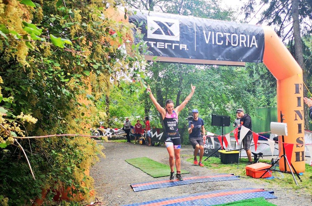 Women's winner crossing the line at XTERRA Victoria