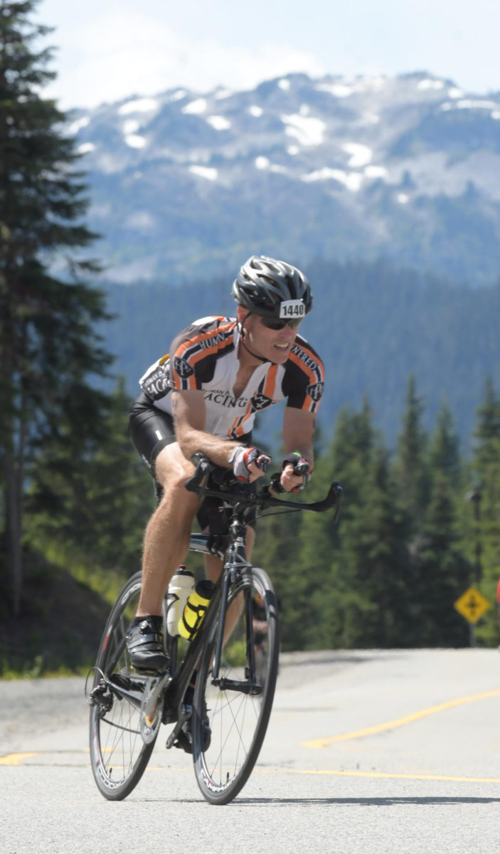 Jay Watson on the bike course during Ironman Canada 2019