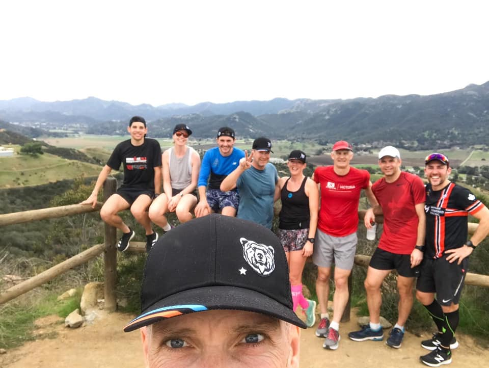 Mike Neill taking a selfie of the Vertical Camp runners at the top of Thousand Oaks Trails