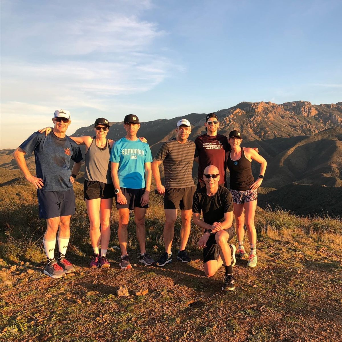 Runners in Santa Monica Mountains with Sun Setting during Vertical Camp