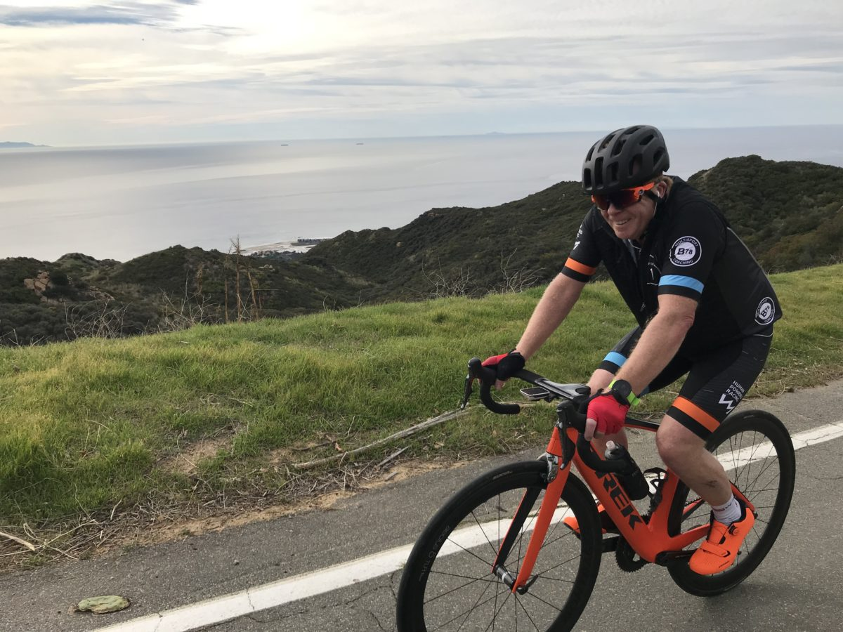 Gerald Kersten riding his bike up Piuma on big day of riding at Vertical Camp 2020